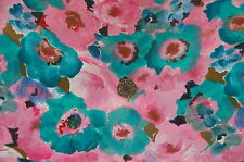 WEDDING,4.5 METRE LONG x 45 IN WIDE,PINK,TURQUOISE FLORAL PRINT CLOTHING FABRIC