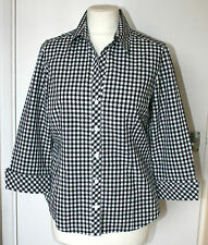 JAEGER UK12 EU40 BLACK/WHITE CHECK 100% COTTON 3/4 SLEEVE BLOUSE