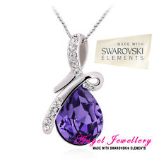 Silver Pendant With Swarovski Purple Crystal Elements Gift For Women + Gift Box