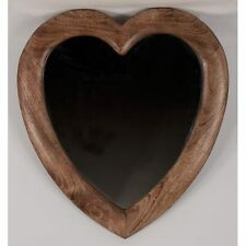 LARGE LOVE HEART WALL MIRROR 58 X 52CM SOLID MANGO WOODEN FRAME
