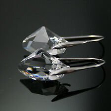 Clear Crystal 925 Silver Drop Earrings made with Genuine swarovski elements