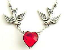 Alchemy Gothic Swallows Red Crystal Heart Necklace ULFP1 Fine Chain Tattoo