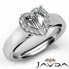 Heart Diamond Halo Pave Setting Engagement 18k White Gold Semi Mount Ring 0.2Ct