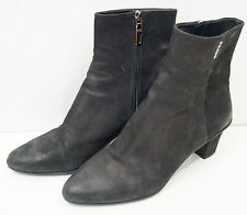PRADA Milano Black Leather Branded Zip Fasten Block Heel Ankle Boots 38.5 UK5.5