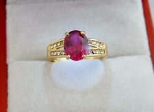 Delicately Created, Red Ruby Solitaire set in 18K Gold Filled Lady's Sz 7/N Ring