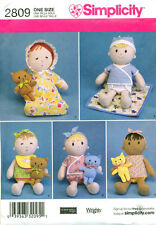 """SIMPLICITY SEWING PATTERN 2809 38CM/15"""" CLOTH/RAG DOLL, CLOTHES & TOY CAT & BEAR"""