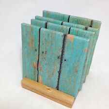 """HANDMADE """"Teal Wood"""" Drink Coasters   Set Of FOUR   The Coaster Attic"""