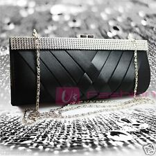LADIES DIAMANTE PARTY PROM BRIDAL EVENING CLUTCH HAND BAG PURSE HANDBAG BLACK