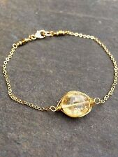 CITRINE BRACELET GOLD FILLED HANDMADE DESIGNER NOVEMBER BIRTHSTONE JEWELRY GIFT