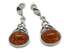 Amberta Designer 925 Sterling Silver Amber Gem Screw Drop Fine Oval Earrings