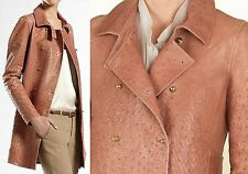 $10,000 GUCCI 6 42 Runway Ostrich Trench Coat Jacket Leather Women Lady ITALY