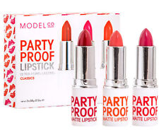 BULK PACK SET OF 3 x MODELCO PARTY PROOF LIPSTICKS CLASSIC SHADES OF RED & PINK!