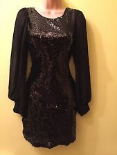 Jane Norman Classy Black Party Dress Sequin Stretch Fitted Size 8