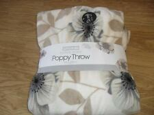 Super Soft Flowered Cream & Black Poppy Throw Blanket Bedspread 150 X 200 CMS