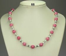 Pink morganite stone bead necklace, silver/clear crystals, stardust spacers