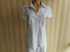 FORCAST BLOUSE XL WHITE BLACK & DARK GREY STITCHING CAREER SHORT SLEEVE H/WASH
