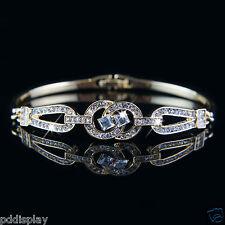 14k Gold plated Swarovski crystals elegant bangle bracelet