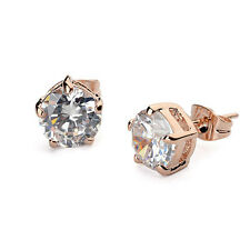 BEAUTIFUL 18K ROSE GOLD PLATED CLEAR GENUINE CUBIC ZIRCONIA STUD EARRINGS