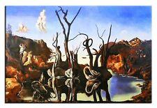 Salvador Dali-Schwäne spiegeln Elefanten-90x60 Ölgemälde Handgemalt Signiert