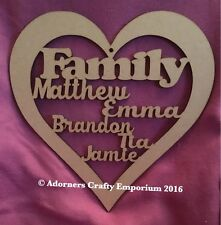 Personalised Family Names Heart Frame Plaque Sign 20cm/200mm Mdf Craft Wood