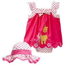 NWT Disney Winnie The Pooh Girls Sunsuit Romper Hat Summer Outfit Set Size 00 0