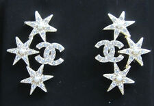 """BNIB Auth 2016 Chanel """"CC"""" Crystal Earrings with Silver Stars and Pearl Accents"""