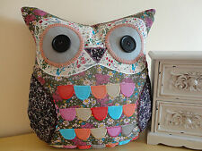 *SECONDS* Shabby Chic Vintage Floral Ditsy Patchwork Fabric Owl Cushion & Inner