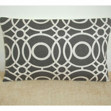 """20""""x12"""" Oblong Cushion Cover Charcoal Grey Ivory Off-White Funky Retro Bolster"""