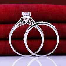 Ring 9ct White Gold filled Diamond Engagement & Eternity set size P Wedding