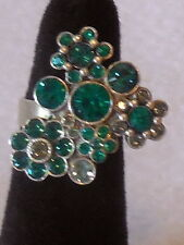 Fashion blue CLUSTER RHINESTONE adjustable COCKTAIL RING silver plate