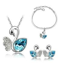 Silver Plated Blue Crystal Swans Necklace Bracelet And Earrings Set