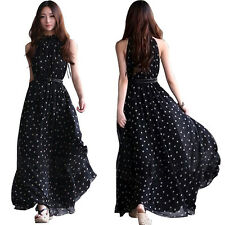 Sexy Summer Women Long Boho Maxi Polka Dot Evening Party Dress Beach Dresses