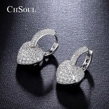 Elegant Women Crystal Love & Heart Earrings Lady Cocktail Hoop Earring Ear Studs