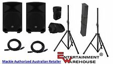 2 x Mackie THUMP12 12inch, 1000W Powered Speakers + Stands with Bag + Cables