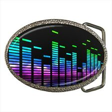 Neon Music Equalizer Bands Belt Buckle Silver Metal