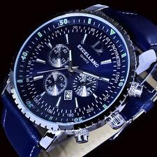Excellanc Uhr Herrenuhr Armbanduhr Blau Silber Farben Datumsanzeige Datum