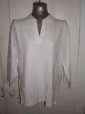 BNWT Biz Collection size 20 white 3/4 sleeved cotton/elastane polo top in EC