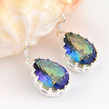 New Year Gift Teardrop Rainbow Mystic Fire Topaz Gem Silver Dangle Hook Earrings
