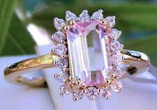 2.12ct Genuine Mawi Kunzite Solitaire with Accents 10k Solid Gold Ring, Size 7