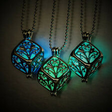 Glow in Dark Design Necklace Hollow Out Tree Locket Square Case Pendant Charm