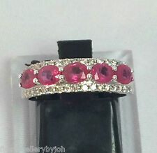 QUALITY GENUINE RUBY RING DIAMOND CLUSTER BAND 18CT GOLD VALUATION $3,810