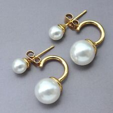 Uniuqe Jewelry 9K Yellow Gold Filled Double White Pearl Stud Earrings