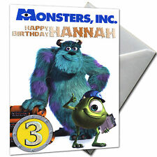 MONSTERS INC - PERSONALISED  Birthday Card Large A5 + Envelope