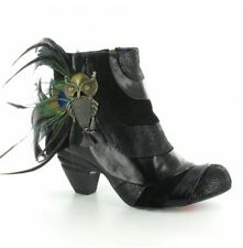 Irregular Choice Say No No Leather Feather and Owl Ankle Boot Black UK 4 RRP£150