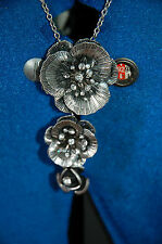 New Long Silver Metal Adjustable Necklace With 3 Crystal studded Flower pendant