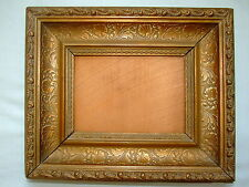 """True Antique Gesso Wood Backing Gilt Picture Frame Square Nails 12"""" Nice"""