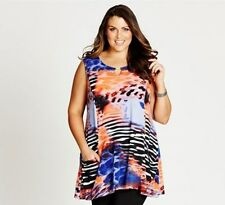 Autograph Plus Size 14 Black Blue Purple Orange Tunic Top Fits Plus Size 18 BNWT