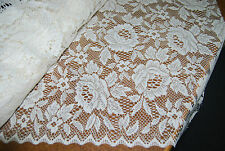 Beautiful Jacquard Lace-Roses-Donna by Nettex -213 cm Drop  -Ivory