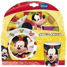 Mickey Mouse Clubhouse 3-Piece Dinner Set | Tumbler, Bowl & Plate | Disney