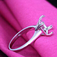 Simple Style!14K White Gold Engagement 9x9mm Cushion Cut Semi Mount Fine Ring